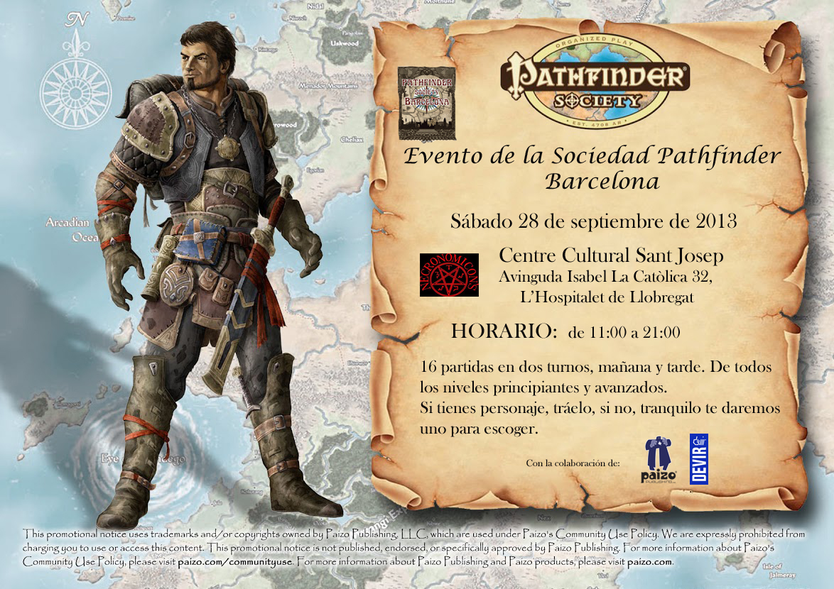 Evento de la Sociedad Pathfinder en Necronomicon's