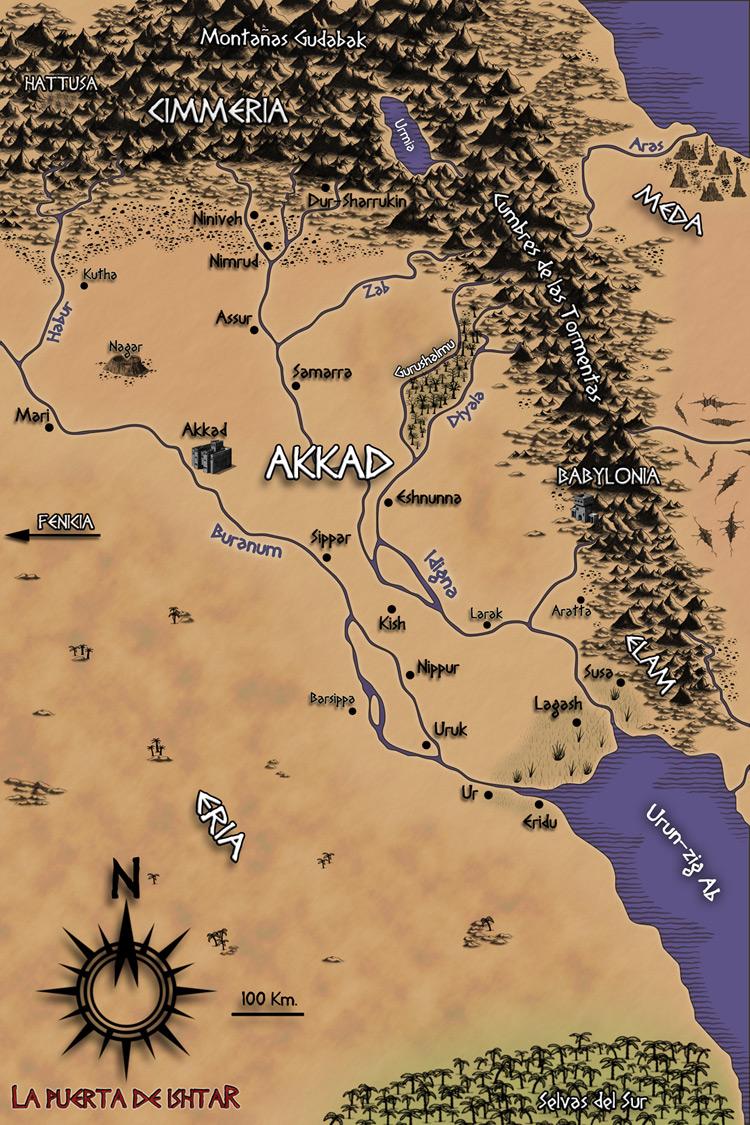 Mapa del Imperio de Akkad